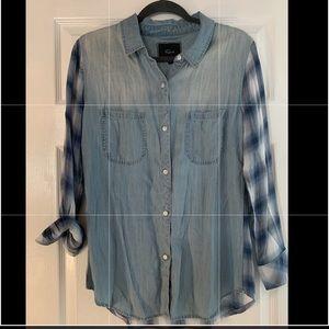 RAILS chambray denim plaid button front shirt
